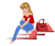 Girl with shopping bags. royalty free stock photography