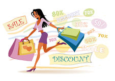 Girl with shopping bags. Vector illustration of girl with shopping bags on the sales Royalty Free Stock Image