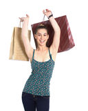 Girl with shopping bags. Over white Stock Image