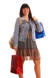 Girl with shopping bags Stock Photos