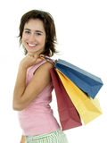 Girl with shopping bags. Isolated royalty free stock photo