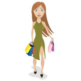 Girl with shopping bags. Beautiful girl comes home from shopping Stock Photos