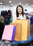 Girl with shopping bags at boutique Stock Photography