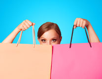 Girl with shopping bags Royalty Free Stock Photos