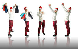 Girl with shopping bags and presents. Girl with presents isolated over white with reflection - 5 poses Stock Images