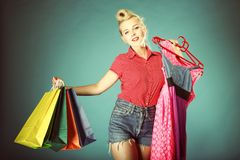 Girl with shopping bags retro style Royalty Free Stock Photo