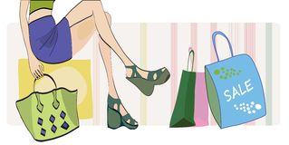 Girl on Shopping with Bags Stock Photos