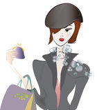 Girl on Shopping with Bags Royalty Free Stock Photos