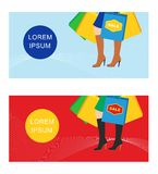 Girl with shopping bags, seasonal discounts Royalty Free Stock Images