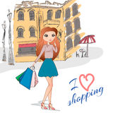 Girl with shopping bags on the street. Vector illustration of Girl with shopping bags on the street Royalty Free Stock Photo