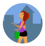 Girl with shopping bags walking down the street. Cartoon vector portrait, icon, emblem, ads, banner Royalty Free Stock Image