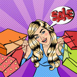 Girl with Shopping Bags. Woman on Shopping. Sale Banner. Pop Art Stock Photos