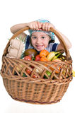 Girl with shopping basket Stock Photo