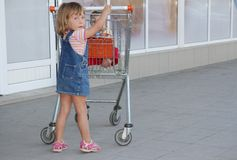 Girl with shopping basket in supermaket Royalty Free Stock Image