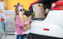 Girl with a shopping cart full of groceries near the car Stock Photos