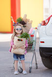 Girl with a shopping cart full of groceries near the car Stock Image