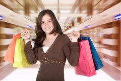 Girl in a shopping center Stock Photos