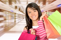 Girl in a shopping center Royalty Free Stock Photos