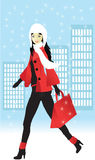 Girl shopping for Christmas, Vector Royalty Free Stock Image