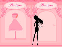 Girl Shopping in the city. Fashion silhouettes girl Shopping in the city Royalty Free Stock Photo