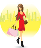Girl shopping in city. Illustration of girl shopping in city.Lifestyle concept Stock Image
