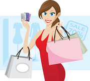 Girl shopping with credit card. Illustration of girl shopping with credit card. Contain transparency effect royalty free illustration