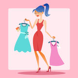 Girl shopping dress choice. Fashion, discounts and sales royalty free illustration