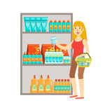 Girl Shopping For Drinks, Shopping Mall And Department Store Section Illustration Royalty Free Stock Photography