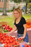 Girl Shopping at farmer's Market. A young woman selecting tomatoes from a farmer's market Royalty Free Stock Image