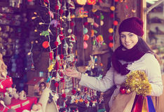 Girl shopping at festive fair Stock Image