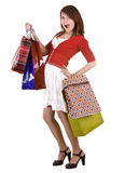 Girl with shopping gift bag. Royalty Free Stock Images