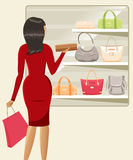 Girl shopping handbags Royalty Free Stock Photography