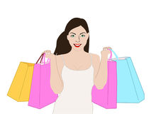 Girl Shopping. An illustration of a woman with shopping bags Stock Image