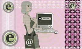 Girl shopping in the internet. Illustration on business and shopping in the internet stock illustration