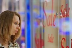 Girl in shopping mall Royalty Free Stock Photos