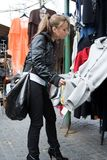 Girl shopping in market Royalty Free Stock Photography