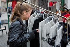 Girl shopping in market Stock Photography