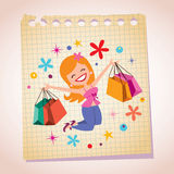 Girl shopping note paper cartoon illustration Stock Images