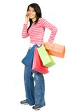 Girl shopping on the phone Royalty Free Stock Photography