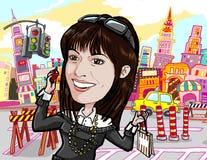Girl shopping, on phone in manhattan new york city. Girl shopping and chat on phone in manhattan new york city Stock Image