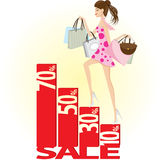Girl shopping on sale. Illustration of a girl is shopping on sale graphic.Concept of lifestyle shopping.Contain gradient and clipping mask royalty free illustration