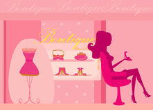 Girl shopping in shoe shop Royalty Free Stock Photo
