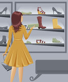 Girl shopping shoes Stock Photography