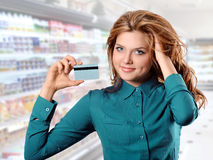 The girl is shopping Stock Image