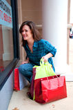 Girl on Shopping Spree Royalty Free Stock Photos