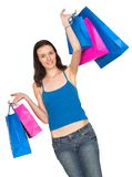 Girl in a shopping spree Royalty Free Stock Photos