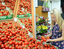 Girl shopping for tomatoes Royalty Free Stock Photo