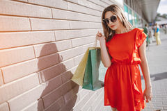 Girl is shopping Royalty Free Stock Photo