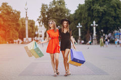 Girl is shopping Stock Photography