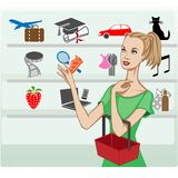 Girl shopping for various lifestyle choices, metaphorical royalty free illustration